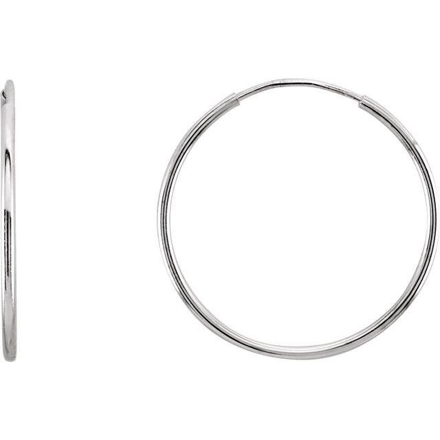 14K White 20 mm Endless Hoop Earrings