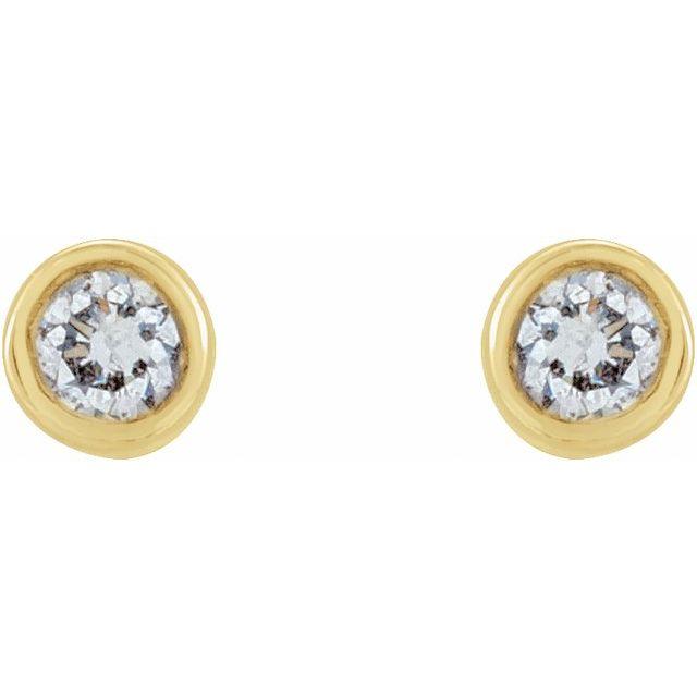 14K Yellow .03 CTW Diamond Micro Stud Earrings
