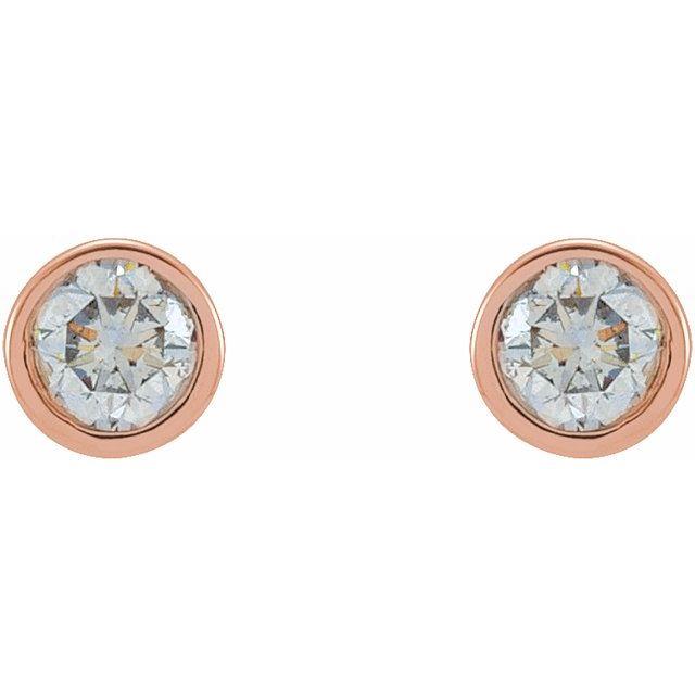 14K Rose .0125 CTW Diamond Micro Stud Earrings