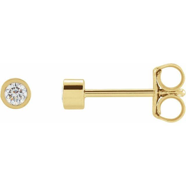 14K Yellow 1/10 CTW Natural Diamond Micro Bezel-Set Earrings