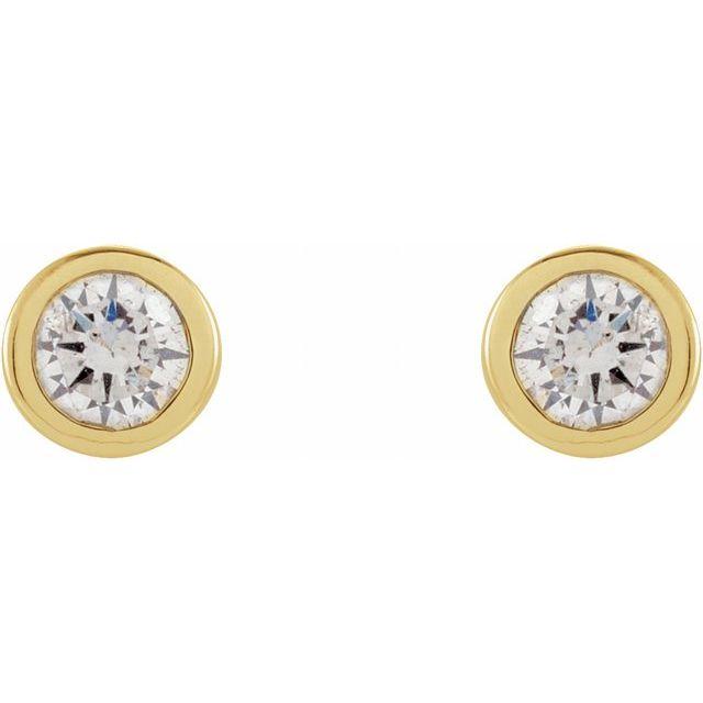 14K Yellow .06 CTW Diamond Micro Stud Earrings