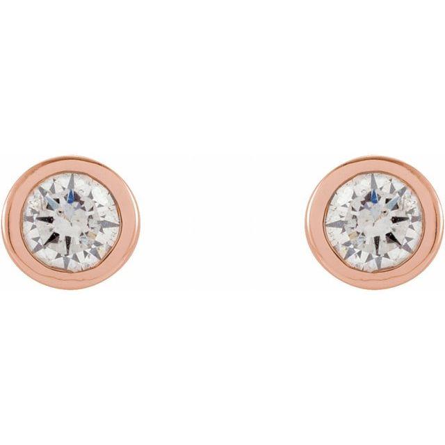 14K Rose .06 CTW Diamond Micro Stud Earrings