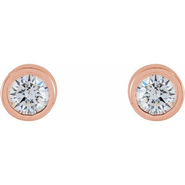 14K Rose .04 CTW Natural Diamond Micro Bezel-Set Earrings