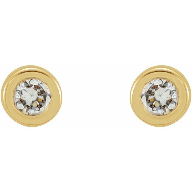 14K Yellow .02 CTW Diamond Micro Bezel-Set Earrings