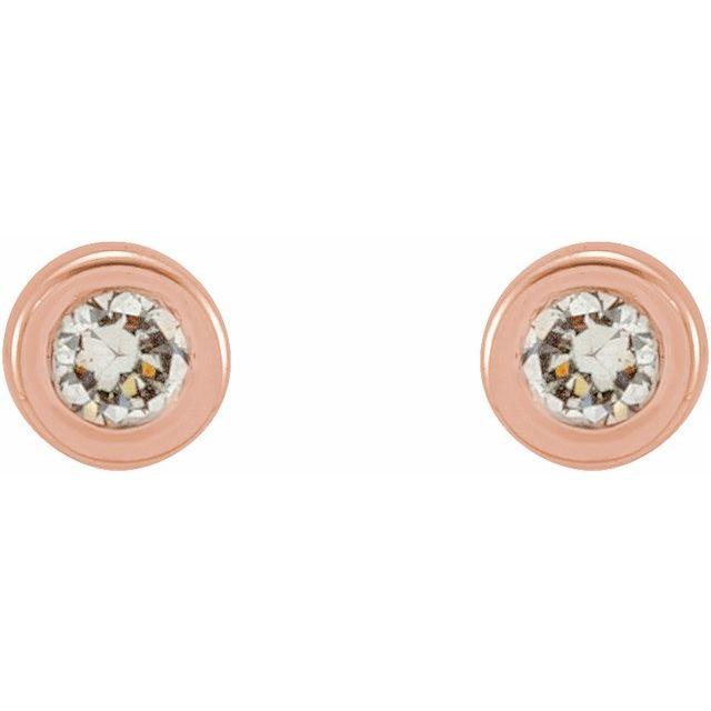 14K Rose .02 CTW Diamond Micro Stud Earrings