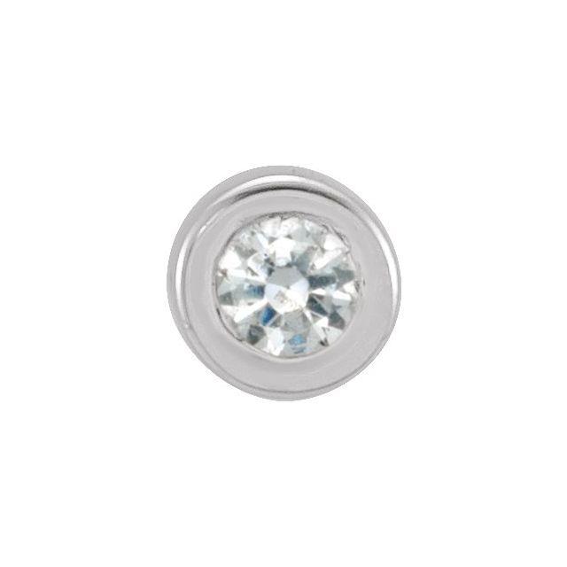 14K White .01 CT Diamond Micro Bezel-Set Single Earring