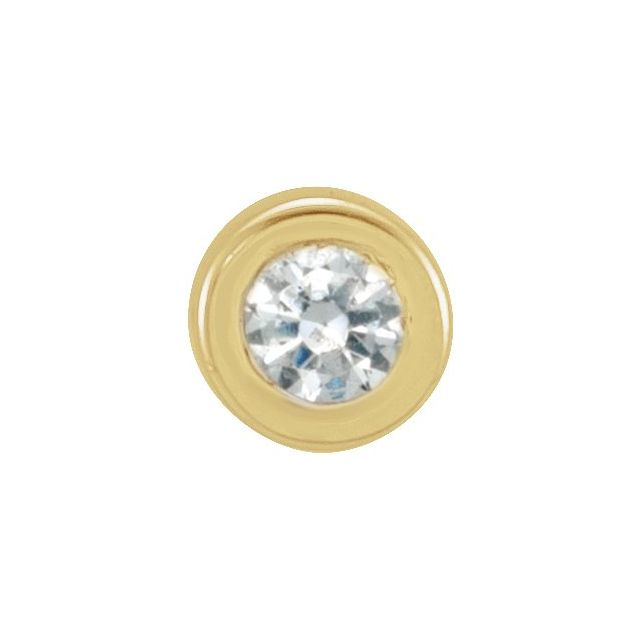 14K Yellow .01 CT Diamond Micro Bezel-Set Single Earring