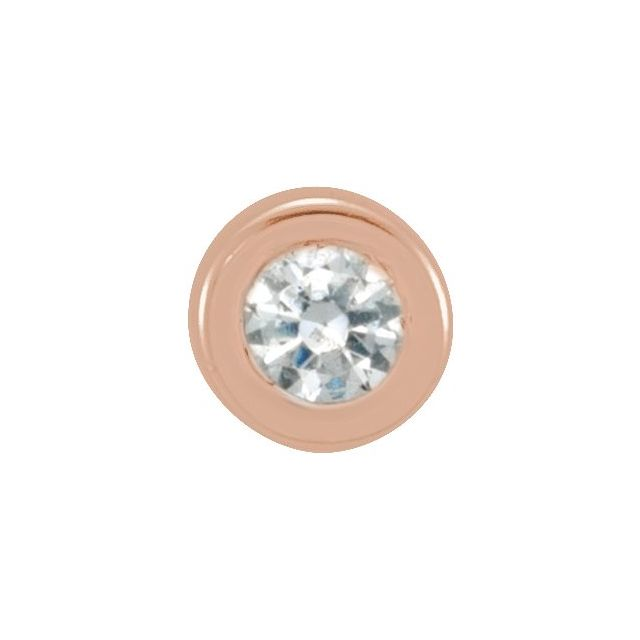 14K Rose .01 CT Diamond Micro Bezel-Set Single Earring