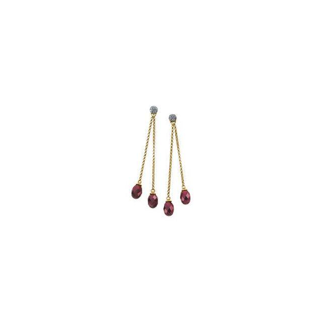 14K Yellow Brazilian Garnet & 1/8 CTW Diamond Earrings