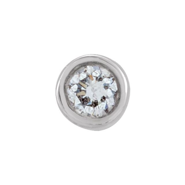 14K White .02 CT Diamond Micro Bezel-Set Single Earring