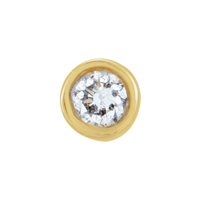 14K Yellow .02 CT Diamond Micro Bezel-Set Single Earring
