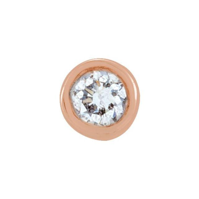 14K Rose .02 CT Diamond Micro Stud Single Earring