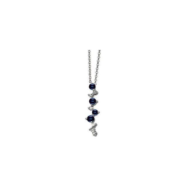 14K White Blue Sapphire & 1/10 CTW Diamond 18