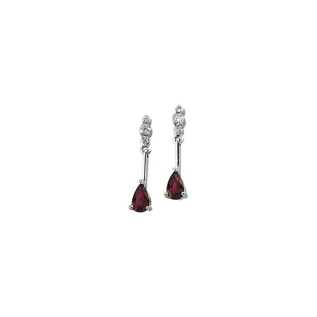 14K White .05 CTW Diamond & Ruby Earrings