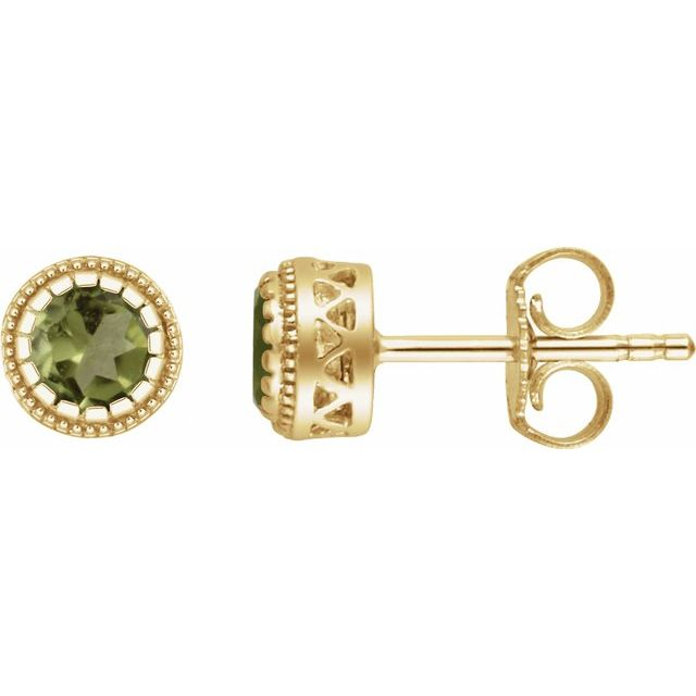 "14K Yellow Peridot ""August"" Birthstone Earrings"