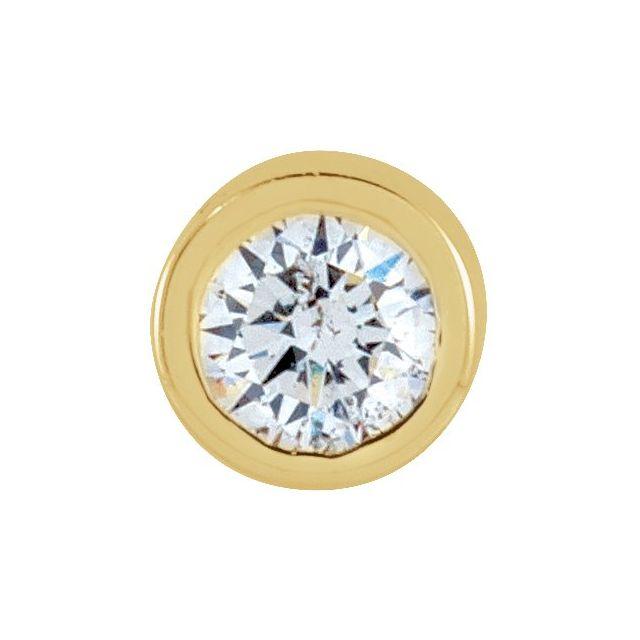 14K Yellow .025 CT Natural Diamond Micro Bezel Single Stud Earring