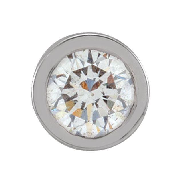 14K White .05 CT Natural Diamond Micro Bezel Single Stud Earring