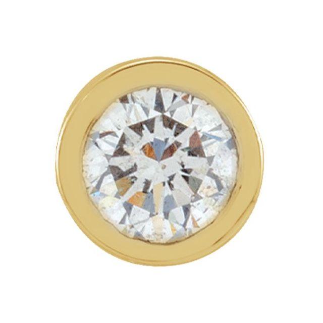 14K Yellow .05 CT Natural Diamond Micro Bezel Single Stud Earring