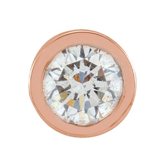 14K Rose .05 CT Natural Diamond Micro Bezel Single Stud Earring