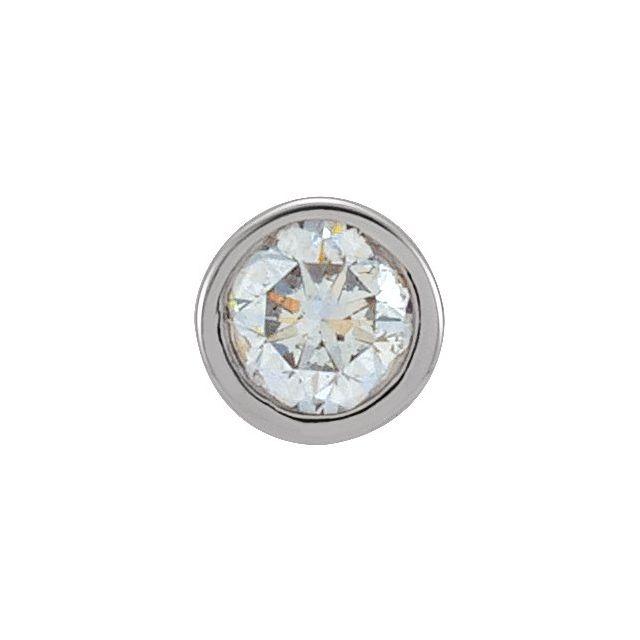 14K White .06 CT Diamond Micro Bezel-Set Single Earring