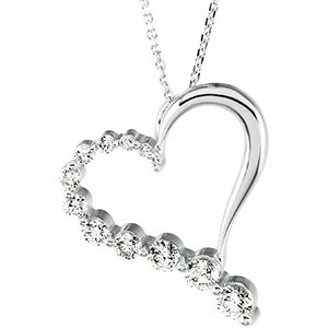"14K White 1 CTW Diamond Journey Heart 18"" Necklace"