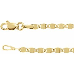 "14K Yellow 2.7 mm Mirror Link 18"" Chain"
