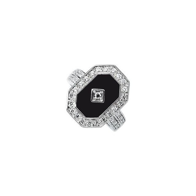 Sterling Silver Onyx & Cubic Zirconia Halo-Style Ring