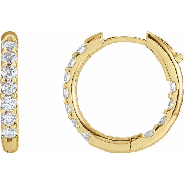 14K Yellow 1 1/8 CTW Diamond Inside-Outside Hinged 18.5 mm Hoop Earrings