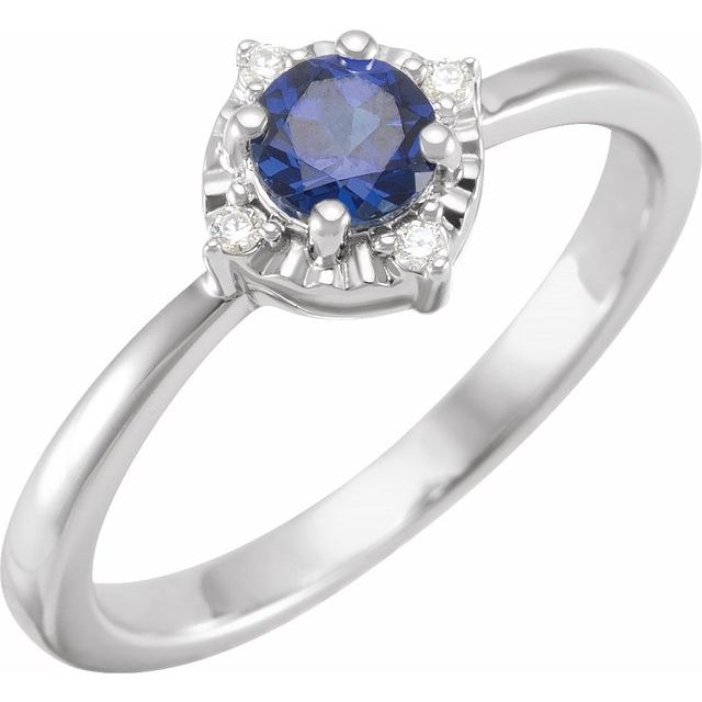 Sterling Silver Lab-Created Blue Sapphire & .04 CTW Diamond Halo-Style Ring Size 6