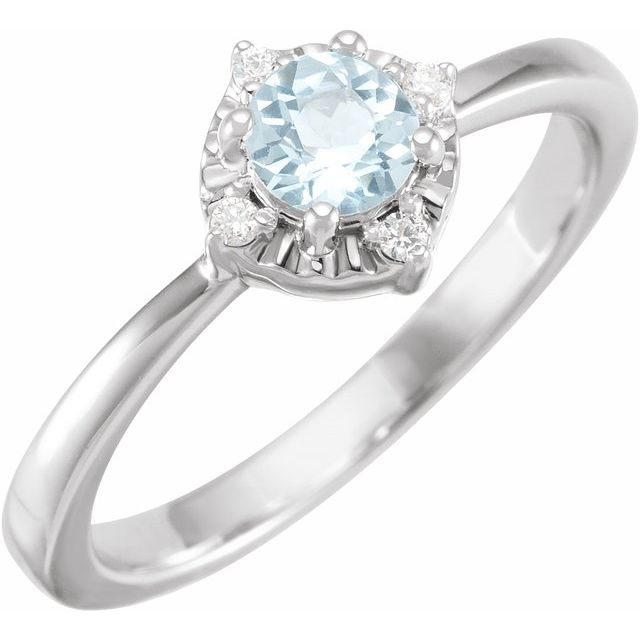 Sterling Silver Natural Sky Blue Topaz & .04 CTW Natural Diamond Halo-Style Ring