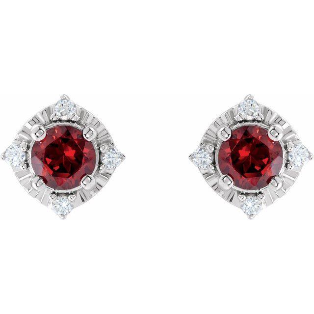 Sterling Silver Mozambique Garnet & .08 CTW Diamond Halo-Style Earrings