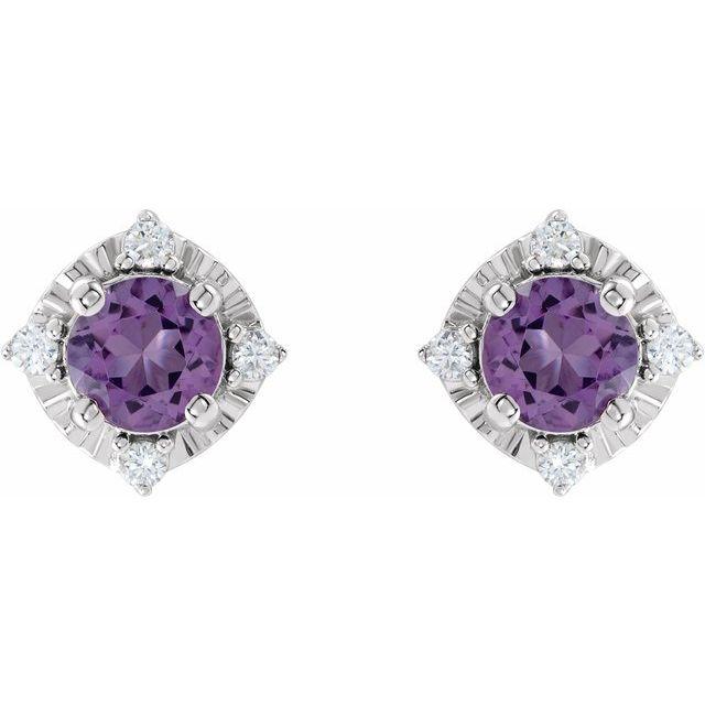Sterling Silver Amethyst & .08 CTW Diamond Halo-Style Earrings