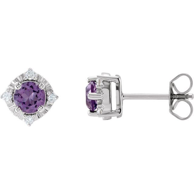 Sterling Silver Amethyst & .08 CTW Diamond Halo-Style Earrings