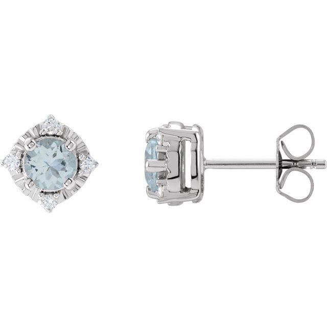 Sterling Silver Aquamarine & .08 CTW Diamond Halo-Style Earrings