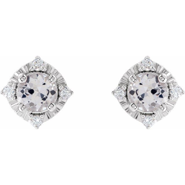 Sterling Silver Lab-Created White Sapphire & .08 CTW Diamond Halo-Style Earrings