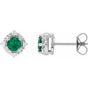 Sterling Silver Lab-Grown Emerald & .08 CTW Diamond Halo-Style Earrings
