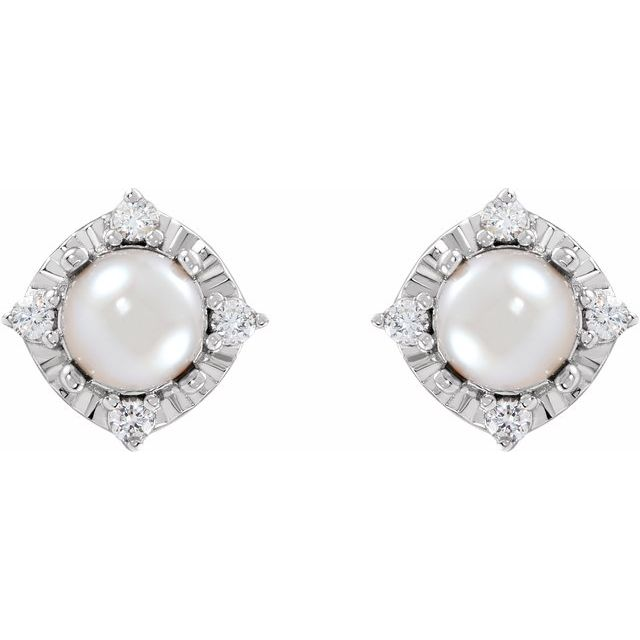 Sterling Silver Cultured Freshwater Pearl & .08 CTW Diamond Halo-Style Earrings
