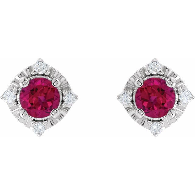 Sterling Silver Lab-Grown Ruby & .08 CTW Diamond Halo-Style Earrings