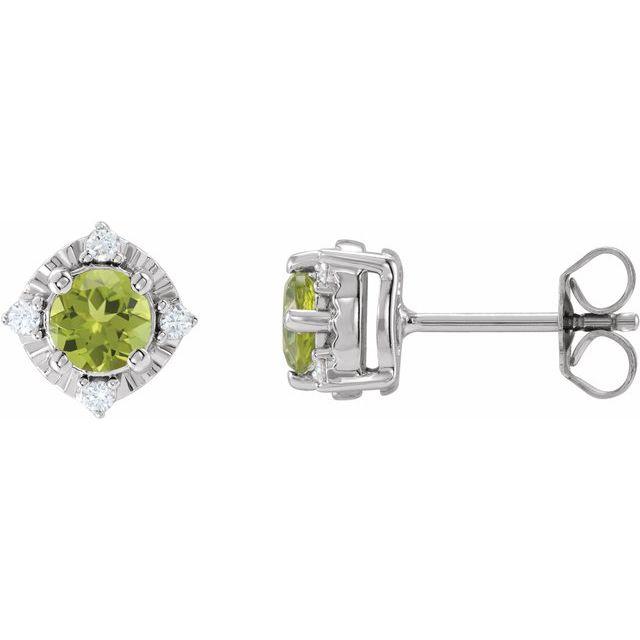 Sterling Silver Peridot & .08 CTW Diamond Halo-Style Earrings