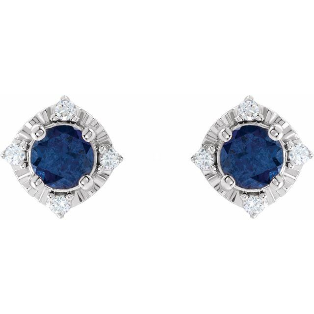 Sterling Silver Lab-Grown Blue Sapphire & .08 CTW Diamond Halo-Style Earrings