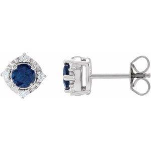 14K White Lab-Grown Blue Sapphire & .08 CTW Diamond Halo-Style Earrings