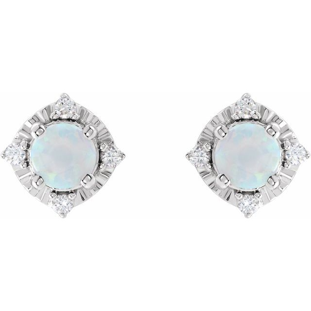 Sterling Silver Lab-Created Opal & .08 CTW Diamond Halo-Style Earrings