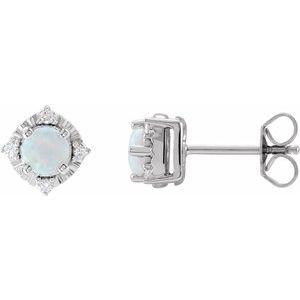Sterling Silver Lab-Grown White Opal & .08 CTW Diamond Halo-Style Earrings