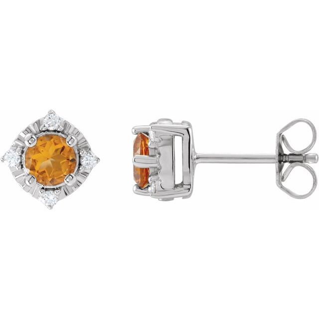 Sterling Silver Citrine & .08 CTW Diamond Halo-Style Earrings