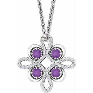 "14K White Amethyst & 1/6 CTW Diamond Clover 18"" Necklace"