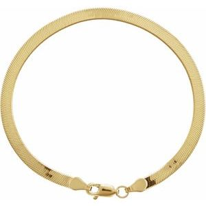 "14K Yellow 3.8 mm Solid Flexible Herringbone Chain 7"" Bracelet"
