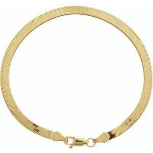 "14K Yellow 3.8 mm Solid Flexible Herringbone Chain 7"" Bracelet"
