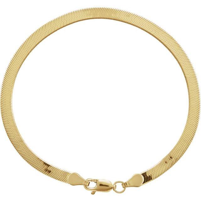14K Yellow 3.8 mm Solid Flexible Herringbone Chain 7