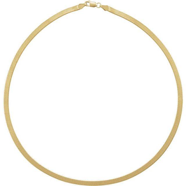 14K Yellow 3.8 mm Solid Flexible Herringbone 24