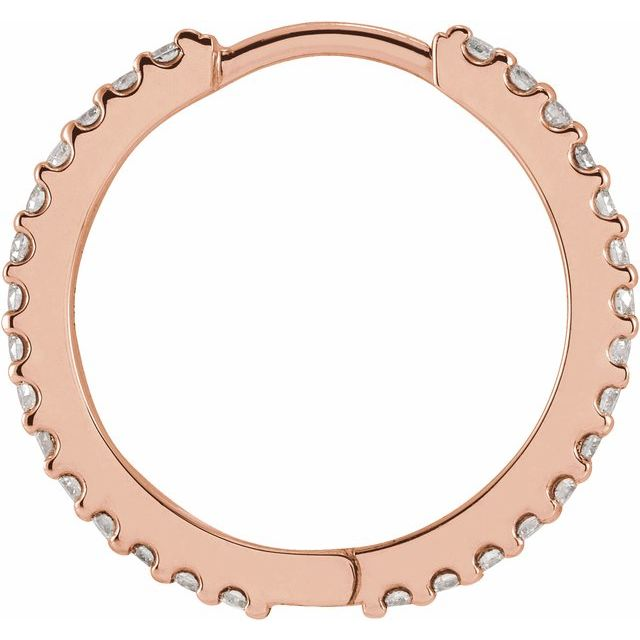 14K Rose 1/4 CTW Diamond 18 mm Huggie Earring